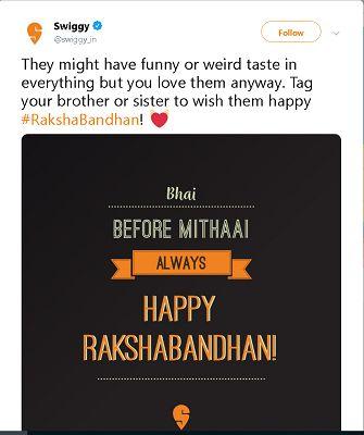 Swiggy Raksha Bandhan Post